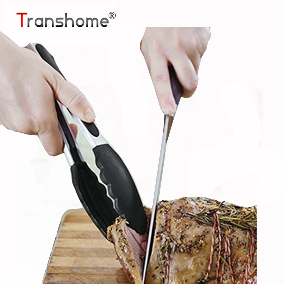 Transhome 1 Pcs BBQ Tongs Silicone Cover Handle Tong Lock Design Barbecue Clip Clamp Stainless steel Food Tongs Kitchen Gadgets