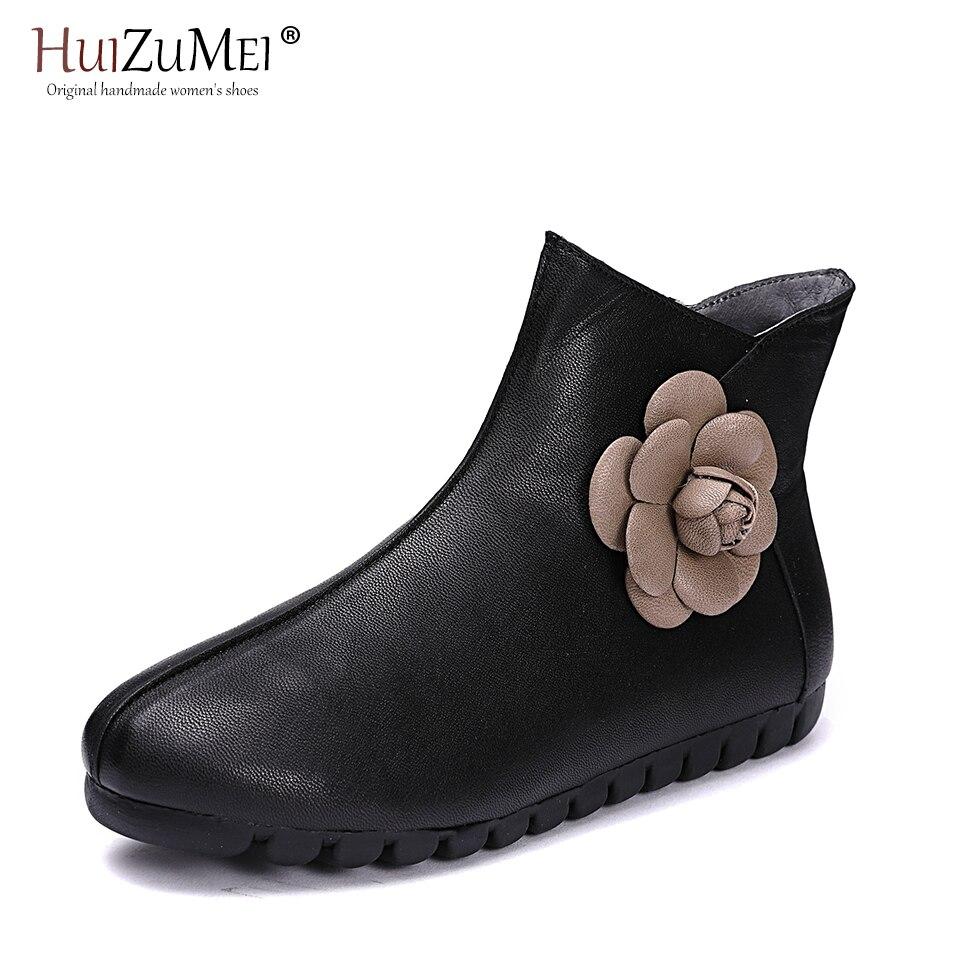 HUIZUMEI Stilvolle Schwarz 3D Frauen Stiefel Hand made Stiefeletten Retro Stiefel Schuhe Frauen Mode Weichen Echten Leder Martin schuhe - 2