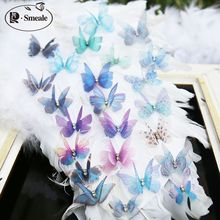 5PCS Multicolor Organza Butterfly Lace Patch Double Layer Embroidered Applique DIY Wedding Headdress Clothing Accessories RS1608(China)