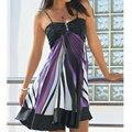 Женщины Без Рукавов Бретельках Ремешками Печатных Империи Высокой Талией Slim Mini Сарафан Платье Фиолетовый