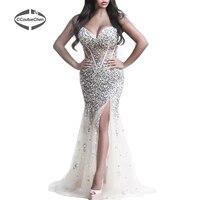 Русалка Платья для вечеринок pdc 007 Длинные без рукавов Милая Высокий разрез Тюль Женское вечернее платье Bling Камень платье vestido de gala