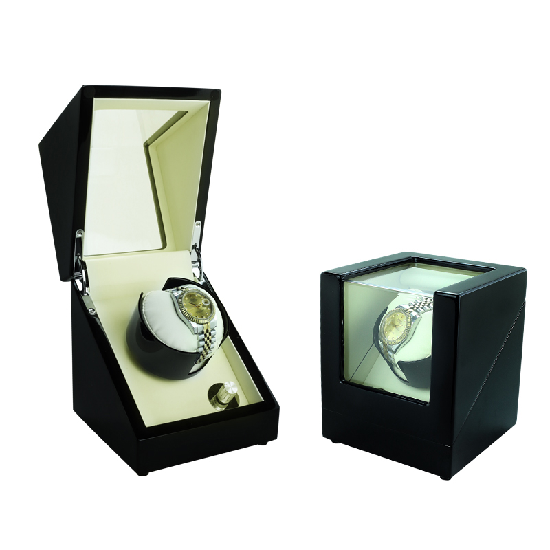 Dobadoura do Relógio Automático de Rotação Fora e Dentro lt de Madeira de Armazenamento 1 + 0 Winder Caixa Display Case São Brancos Ver