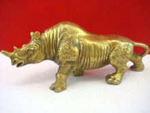 Feng Shui Brass Double Horned Rhinoceros Statue Figure For Protection