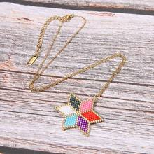 Miyuki Glass Beads Handmade Necklace Women Six Colors Flower Necklaces & Pendants Girl Friendship Stainless Steel Jewelry