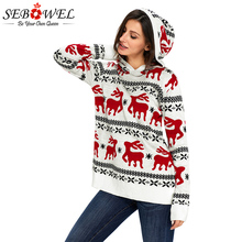 SEBOWEL 2019 New Cute Christmas Hooded Sweater Women Plus size Reindeer Knit Long Sleeve oversized Pullovers Sweater S-XXL crew collar christmas sweater with reindeer graphic