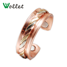 Wollet Jewelry Magnetic Pure Copper Ring For Women Men Health Care Adjustable Tri-color Bio Magnet Anti Arthritis Pain Relief pure copper tri port and four ports vertical style gas hancock