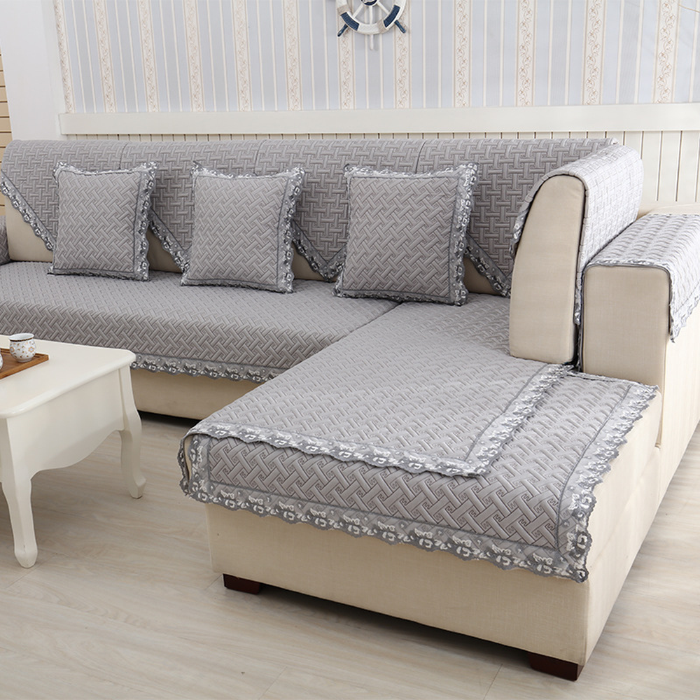 Stylish sectional sofa cover Quilted embroidery couch ...