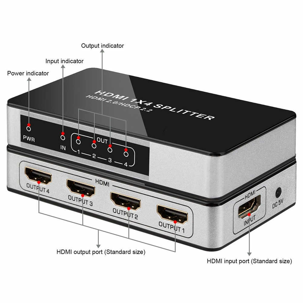 4K @ 60Hz UHD HDMI Splitter 1x4 1 Eingang 4 Ausgang HDMI 2,0 HDCP 2,2 Split Repeater switch Box Hub 1080P @ 60Hz Für HDTV PS3 DVD STB