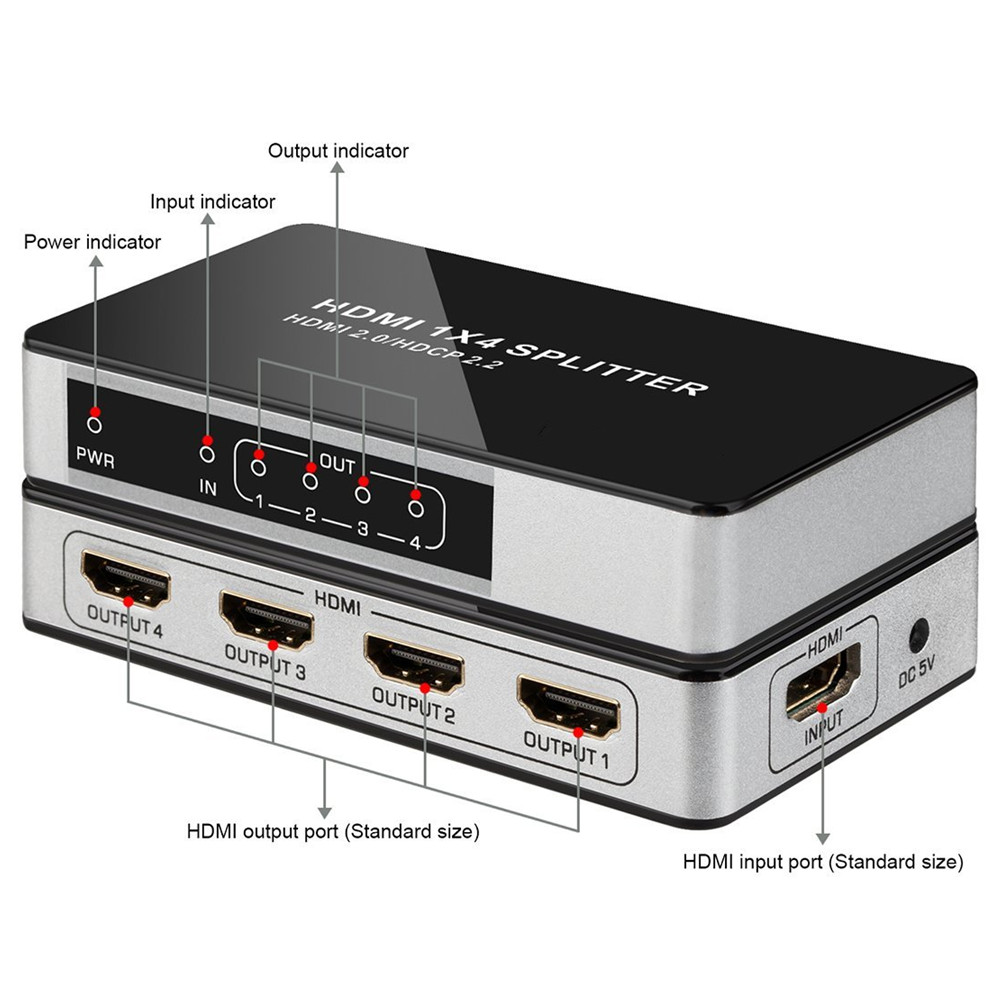 4K@60Hz UHD HDMI Splitter 1x4 1 Input 4 Output HDMI 2.0 HDCP 2.2 Split Repeater Switch Box Hub 1080P@60Hz For HDTV PS3 DVD STB4K@60Hz UHD HDMI Splitter 1x4 1 Input 4 Output HDMI 2.0 HDCP 2.2 Split Repeater Switch Box Hub 1080P@60Hz For HDTV PS3 DVD STB