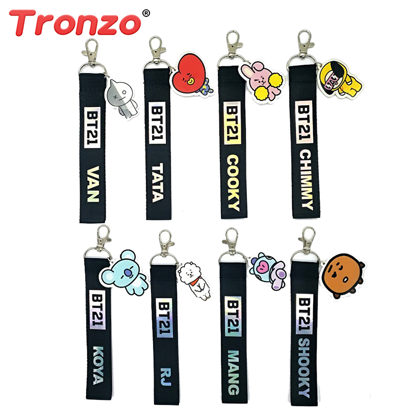 Tronzo 1Pcs BT21 Bangtang Boy Kpop Laser Lanyard TATA COOKY SHOOKY Cute Phone Strap Keychain Keyring Kawaii Pendant For Girl Boy mini motorcycle helmet keychain cute keyring