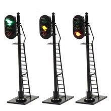 Señal de tráfico con escalera, 3 unidades, modelo de ferrocarril 1:87, rojo, amarillo, verde, señal HO, escala 6,3 cm