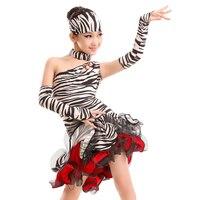 2017 새로운 섹시한 어깨 라틴어 댄스 성능 어린이 소녀 라틴어 댄스 얼룩말 dress