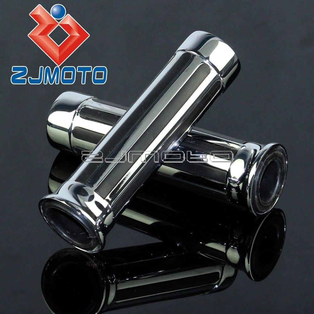 ZJMOTO Chrome Supermoto Grips Custom Stripe CNC Aluminum Motorcycle Hand Grips 1