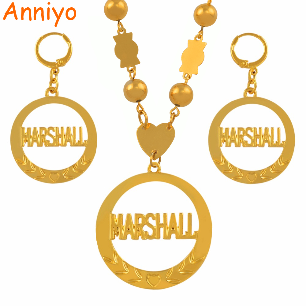 Anniyo Big Size Marshall Jewelry set Pendant Ball Beads Necklaces Earrings for Women Gold Color Ethnic Jewellery Gifts #123406 anniyo qatar necklace and pendant for women girls silver color stainless steel gold color ethnic jewelry gifts 027621