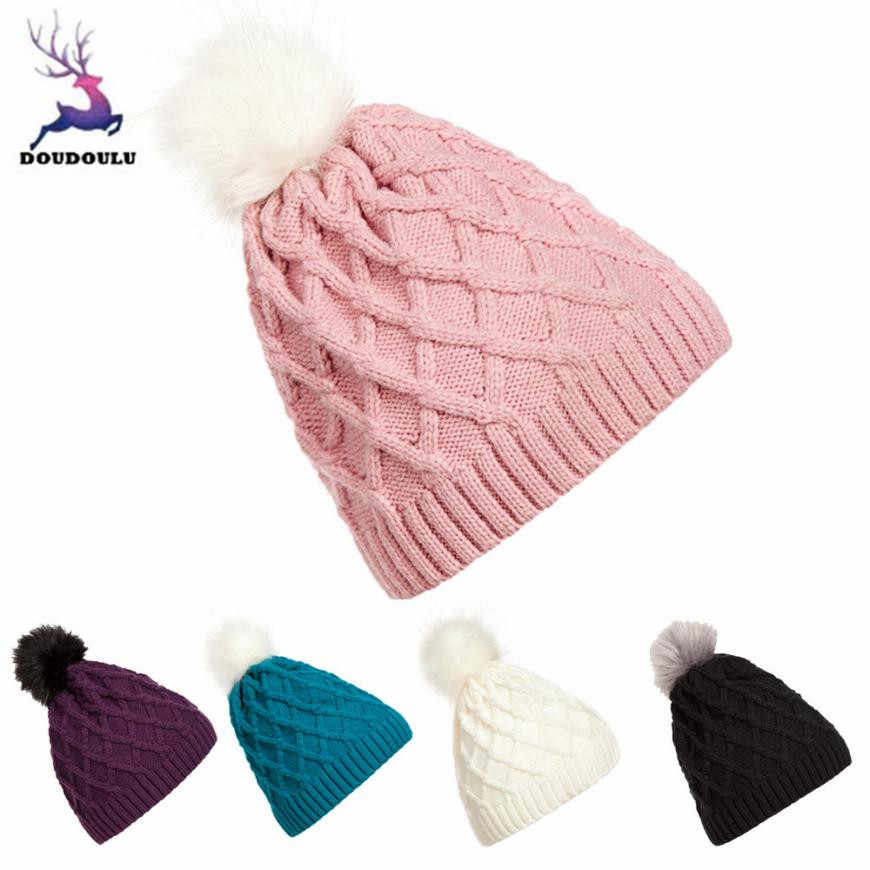 255947faae7 DOUDOULU winter hats for women knit hats Crochet Hat Fur Woolen Knit Beanie  Warm Caps cappello