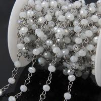 5Meters AB titanium White Crystal Glass Bead Chains,Faceted Rondelle Sliver plated Stainless Steel Wire Wrapped Rosary Chains