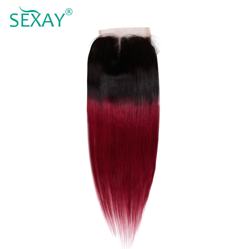 Sexay Burgundy Ombre Human Hair Light Brown Lace Closures 2 Tone T1B/Wine Red Ombre Brazilian Straight Human Hair Lace Closures