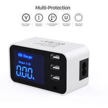 Quick Charge Type C USB Charger HUB Led Display Wall Charger Fast Mobile Phone Charger For iPhone Samsung USB Adapter EU US Plug quick charge smart mobile usb charger socket 3port usb type c fast charging charger wall power adapter led display desktop strip