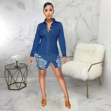 OKAYOASIS Office Lady Square Collar Long Sleeve Bodycon Denim Skater Dress  Elegant Hollow Out Casual Jeans d87868fb7