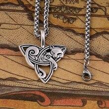efdd3820ad45 Nuevo estilo caliente de Viking joyería celta nudos fox gato collares y  colgantes Triquetra de Metal de Color plata Cadena de re.