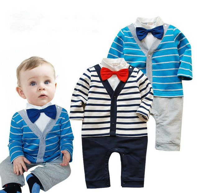 Cute Baby Boys Rompers Infant Long Sleeve Style Clothing Stripe Suit