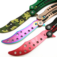CS GO Karambit Folding Knife Butterfly Fade Colorful Color Game Knife Dull Blade No Edge Tool
