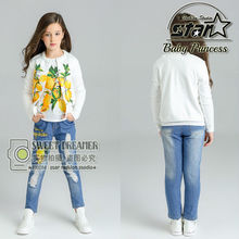 New Autumn Fashion Girls Lemon Print Coat Short Sleeves Shirt Ripped Hollow Jeans 3 Pieces Set