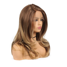 Brown Long Synthetic Lace Front Wigs With Natural Hairline
