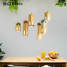 лучшая цена BOTIMI Wooden LED Pendant Lights For Dining Room Colorful Children HangLamp Wood Lampshade Suspension Lighting Bulbs For Free