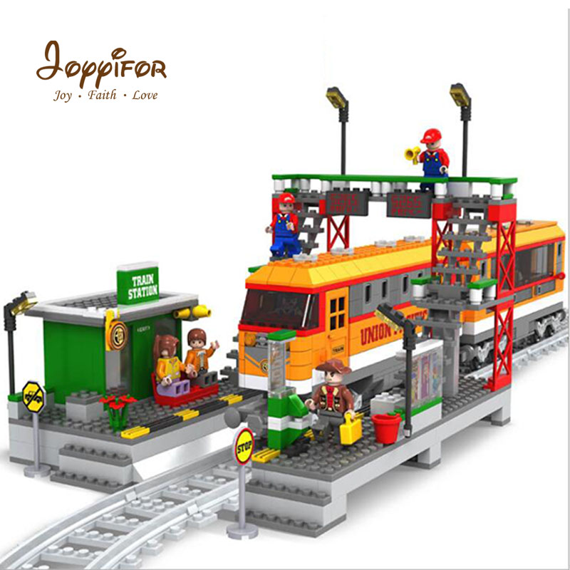 Joyyifor Train Series Station and Railway Platform Building Blocks Compatible With LegoINGlys Figure 3D Model Toys For Children