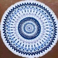 Fashion Handmade 100% Cotton Round Yoga/Beach Towel 150*150cm Tassel Decor Geometric Printed Bath Towel Summer Style
