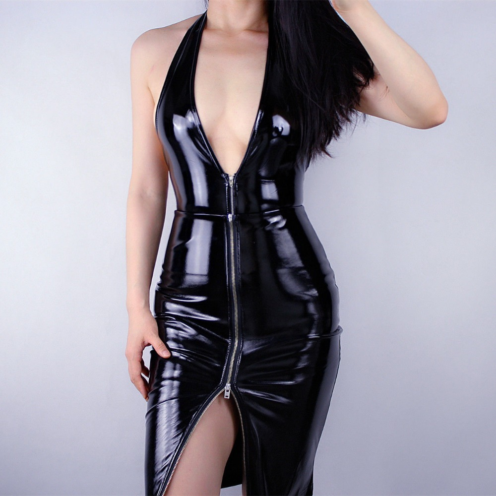 Shine Black High Rise Conjoined Zipper Ladies skirt Women's latex Dress