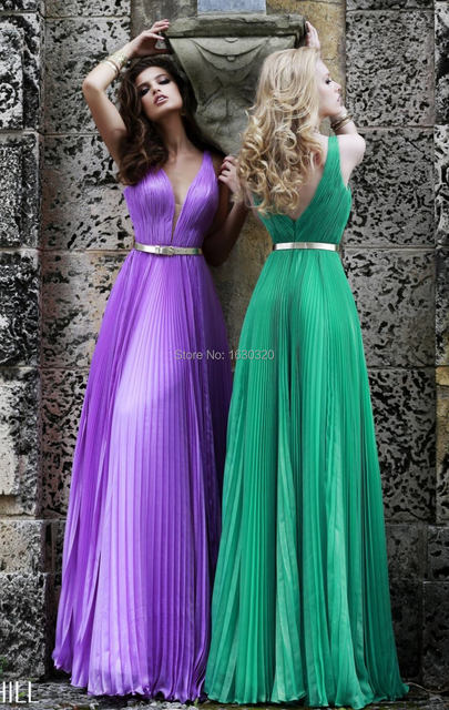 Bright Coloured Party Gown V Neck Floor Length Light Purple Green