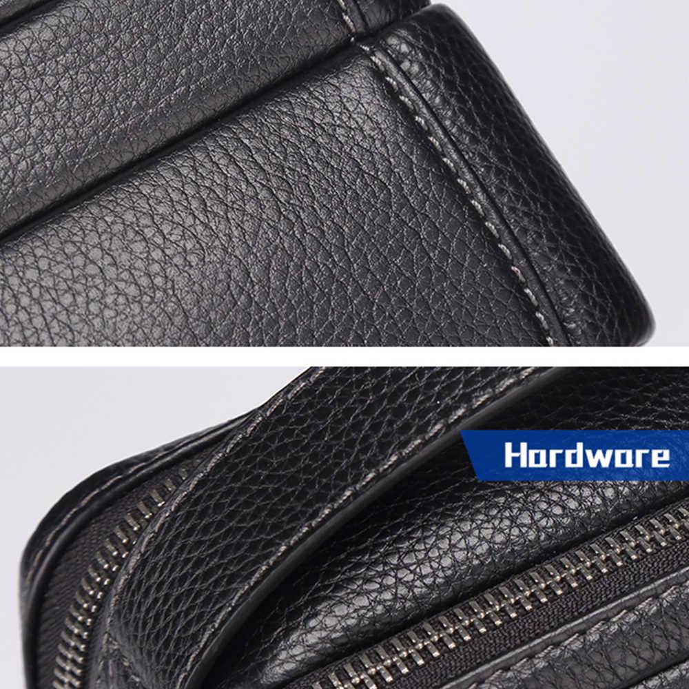 BISON DENIM Genuíno Masculino de Couro Bolsa de Homens Multifuncionais Saco iPad Saco Do Mensageiro corssbody bag bolsas de alta qualidade N2630