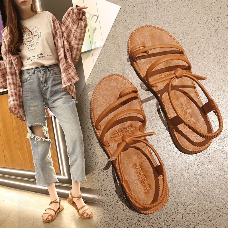 Sandals Shoes Cross-Tied Flat Female Fashion Mujer