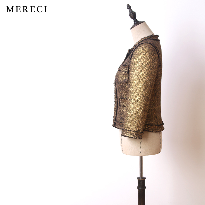 Classique Automne Nouvelle Couleur Formelle Haute Qualité Or De Laine Survêtement Hiver Métal Élégant Courte Manteaux Veste Femmes Tweed 2017 qnvZ4T