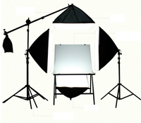 Photo Studio Lighting Kit with 4 * Softbox / 60x100cm Shooting Table / Arm Top Light Stand With Weight Bag / 2* 2m Light Stand
