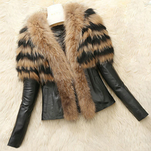 Zaki New Fashion Winter Women's Warm Faux Fur Collar Coat Long Sleeve Leather Jacket Outerwear Black Faux Fur Plus Size 6XL