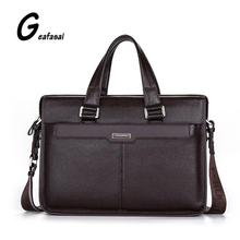 brand P.KUONE genuine cow cowhide leather men's briefcase Shoulder laptop bags handbag for male business style large brown black