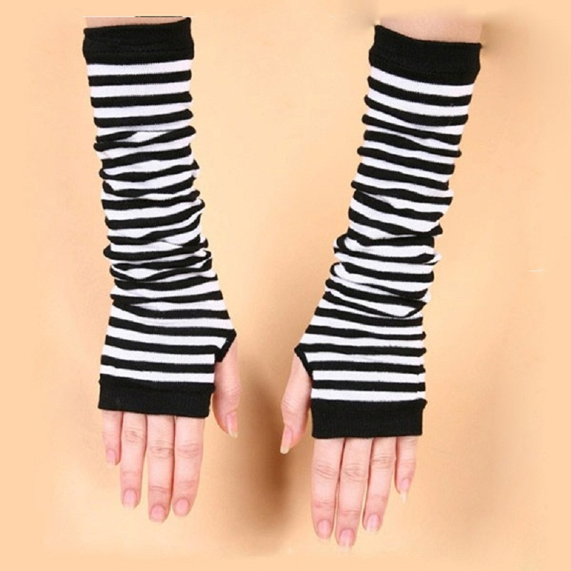 HTB1gkF SFXXXXcfXFXXq6xXFXXXz - Naiveroo Fashion Women Lady Striped Elbow Gloves Warmer Knitted Long Fingerless Gloves Elbow Mittens Christmas Accessories Gift