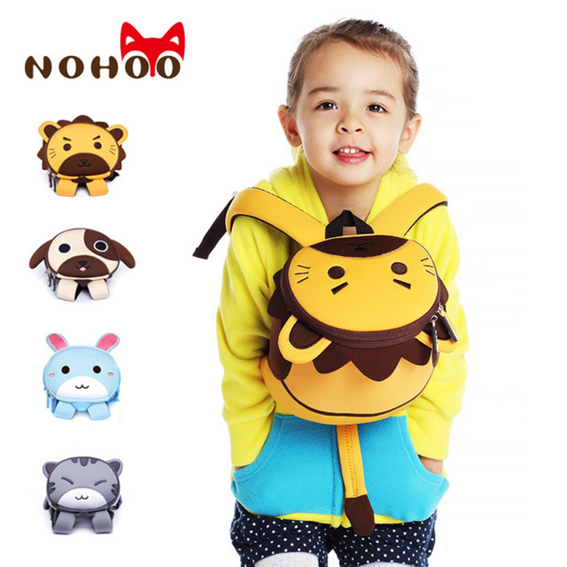 NOHOO 3D Animals Printing School Backpacks for Children Waterproof Cartoon Kids School Bags for Girls Mochila Escolar Toddler's nohoo toddler kids backpack 3d rocket space cartoon pre school bags children school backpacks kindergarten kids bags mochila