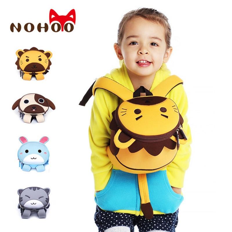 NOHOO 3D Animals Printing School Backpacks for Children Waterproof Cartoon Kids School Bags for Girls Mochila Escolar Toddler's nohoo серый