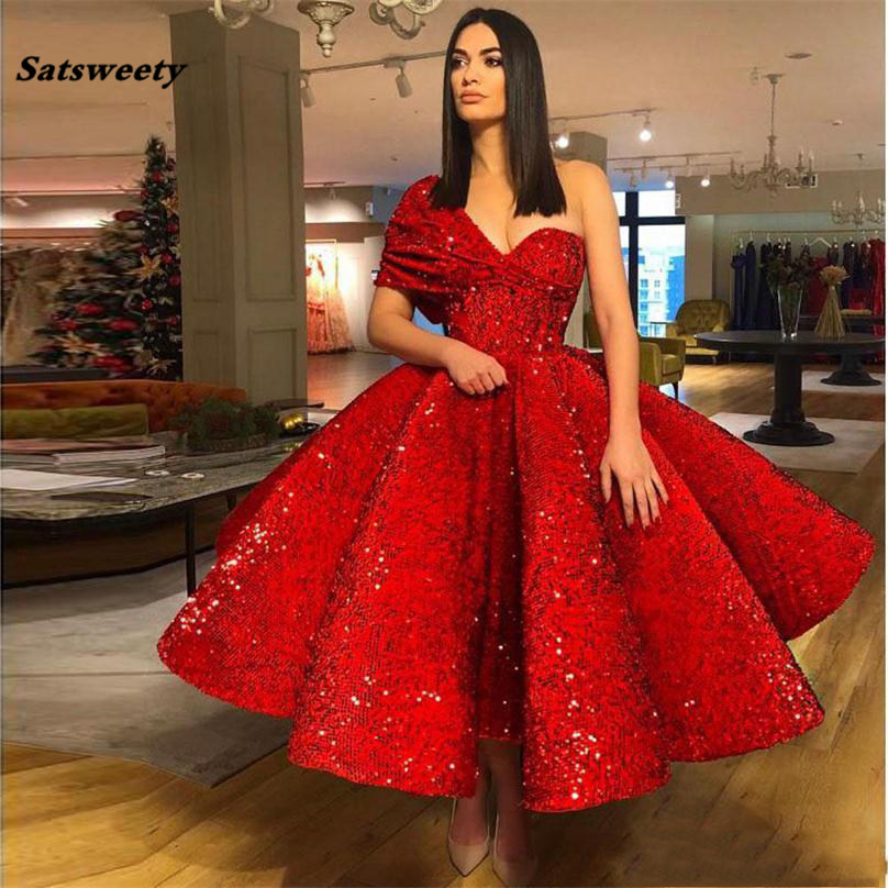 Red Muslim   Bridesmaid     Dresses   2019 Ball Gown One-shulder Tea Length Sequins Islamic Dubai Kaftan Saudi Arabic Long Prom Gowns
