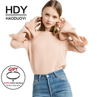 HDY Haoduoyi 2017 Autumn Winter Women Sweaters Long Flare Sleeve Ruffles Solid Pink Pullovers Slash Neck