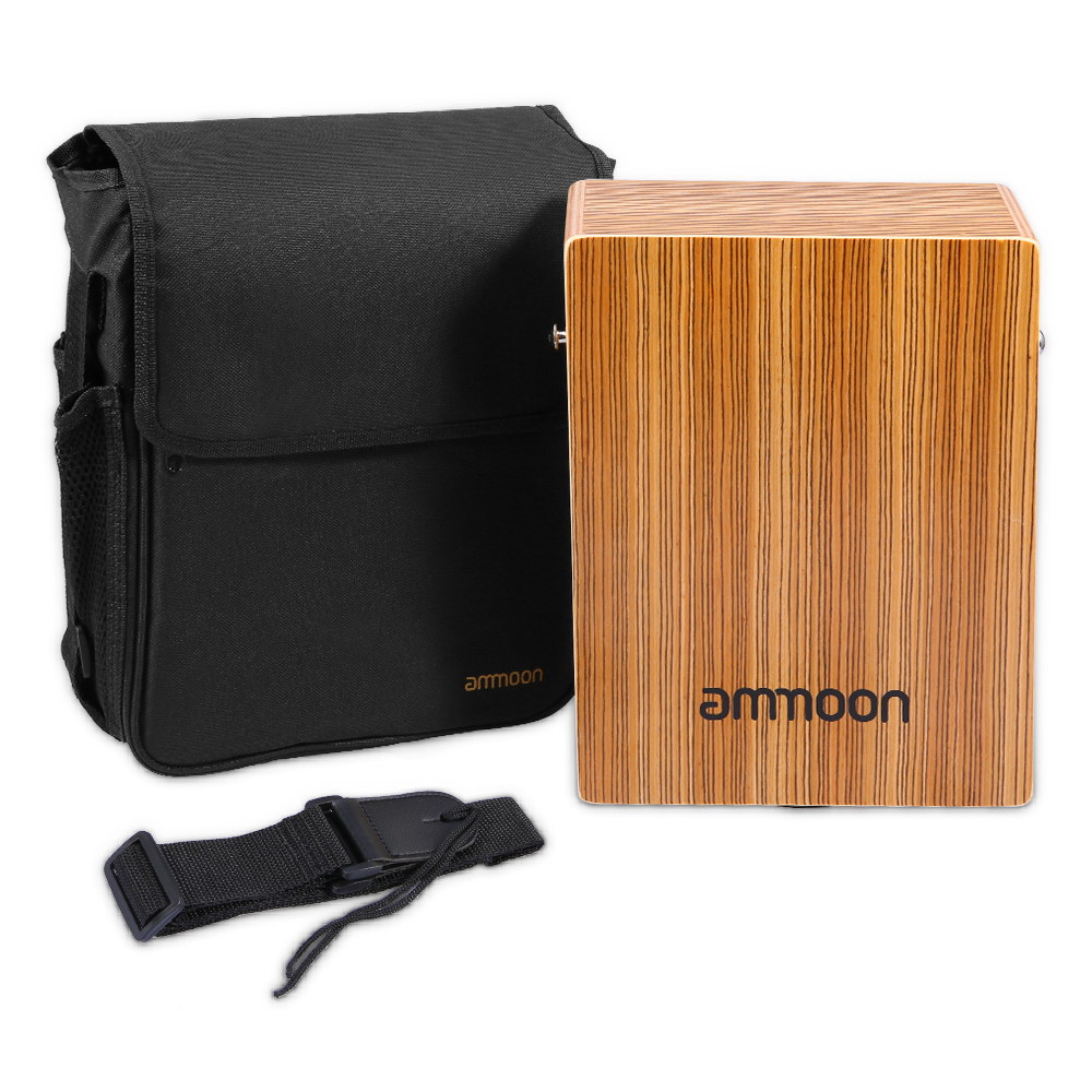 Portable Travel Cajon Birch Wood Cajon Brown Box Drum String Structure Inside For Drummers Travelling Musicians