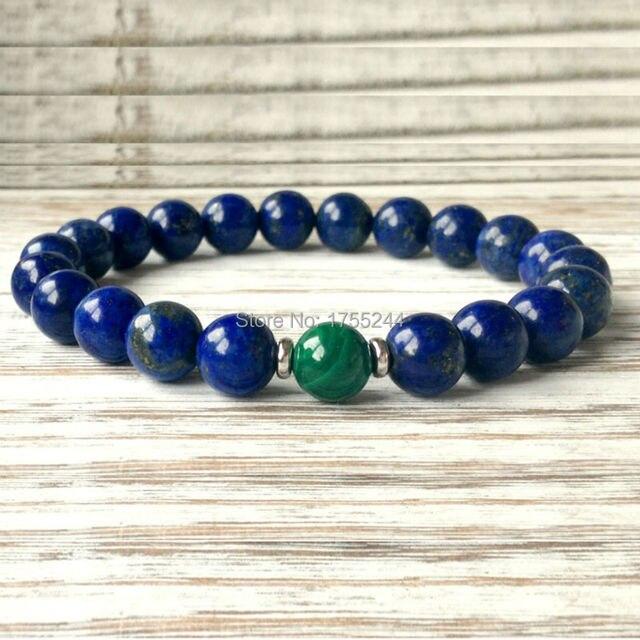 cce5fc8d32d49 Aliexpress.com : Buy SN1045 Fashion Mens Lapis Lazuli Malachite Bracelet  Yoga Chakra Mala Beads Bracelet Anxiety Stress Relief Bracelet Emotional We  ...