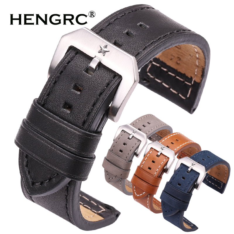 HENGRC 24mm Genuine Leather Watch Band Strap Women Men Black Blue Gray Brown Cowhide Watchbands Belt With Metal BuckleHENGRC 24mm Genuine Leather Watch Band Strap Women Men Black Blue Gray Brown Cowhide Watchbands Belt With Metal Buckle