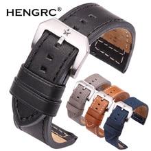 HENGRC 24mm Genuine Leather Watch Band Strap Women Men Black Blue Gray Brown Cowhide Watchbands Belt With Metal Buckle все цены