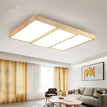 Nordic Modern Simple Solid Wood Ceiling Lamp Rectangular LED Living Room Lamp Creative Study Lamp Free Shipping