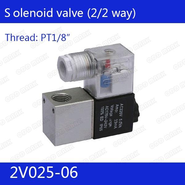 2V025-06 Free Shipping 1/8 2 Position 2 Port Air Solenoid Valves 2V025-06 Pneumatic Control Valve , DC12v DC24v AC110v AC220v free shipping 1 8 2 5mm pore stainless steel water solenoid valve viton 2s025 06 dc12v dc24v ac110v or ac220v